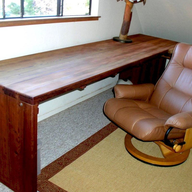 """Maynard Desk (Options: 10' L, 34 ½"""" W Top, No Seating, Mature Redwood, Seamless Tabletop, Squared Corners, No Umbrella Hole, Coffee Stain Premium Sealant). Photo Courtesy of Mr. Bill Burke of San Francisco, CA. Chair not included."""