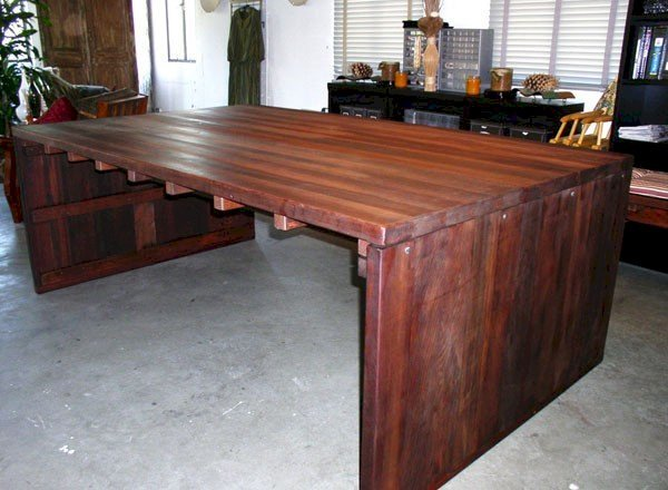 """Maynard Desk (Options: 8' L, 57 ½"""" W Top, No Seating, Old-Growth Redwood, Seamless Tabletop, Squared Corners, No Umbrella Hole, Coffee Stain Premium Sealant)."""