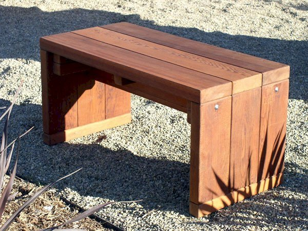 Maynard Garden Bench (Options: 4 ft x16 inches W x 17 inches H, Old-Growth Redwood, No Cushion, No Engraving, Transparent Premium Sealant).