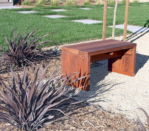 Maynard Garden Bench (Options: 4 ft x 16 inches W x 17 inches H, Old-Growth Redwood, No Cushion, No Engraving, Transparent Premium Sealant).