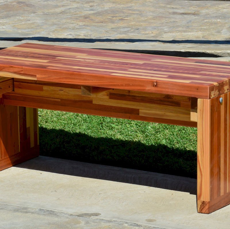 Maynard Garden Bench (Options: 3 1/2 ft x 17 3/4 inches W x 17 inches H, Mosaic Eco-Wood, No Cushion, No Engraving, Custom Sealant-Urethane Finish [recommended for indoors]).