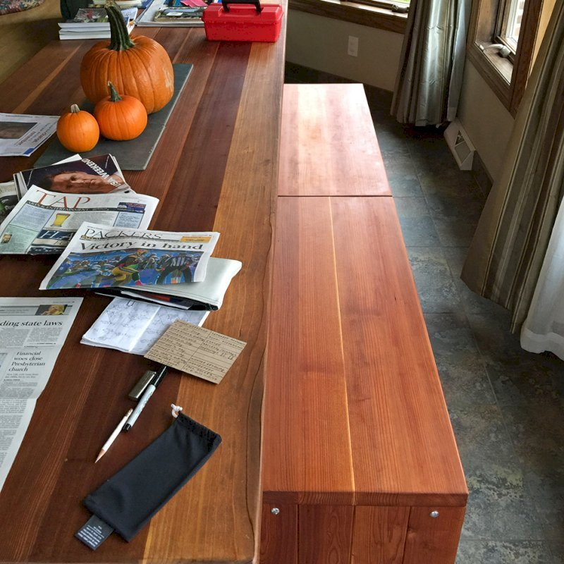 Maynard Garden Bench (Options: 5 ft x 16 inches W x 15 1/2 inches H, California Redwood, No Cushion, No Engraving, Transparent Premium Sealant). Photo Courtesy of AJ Gould of Lake Geneva, Wisconsin.