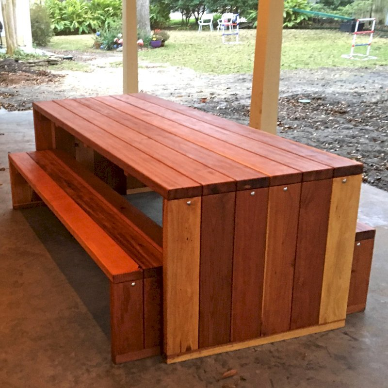"Maynard Table (Options: 7' L, 34 1/2"" W Tabletop, Side Benches, California Redwood, One Full Length Bench on One Side and Two Half Length Benches on the Other by Custom Request), Standard Tabletop, No Umbrella Hole, Transparent Premium Sealant). Photo Courtesy of P. Ankney of Bellaire, TX."