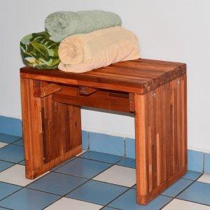 "Maynard Wood Shower Bench (Options: 2 feet x 20"" H x 16"" W, Mosaic Eco-Wood, No Engraving, Transparent Premium Sealant)."