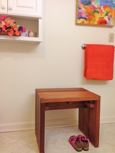 """Maynard Wood Shower Bench (Options: 2 feet x 21 1/2"""" H x 17 3/4"""" W, Old-Growth Redwood, No Engraving, Transparent Premium Sealant). Photo Courtesy of Carol White of Bloomfield, Connecticut."""