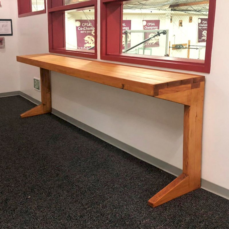 Custom Maynard Hallway Table (Options: 11' L, 18-inch Wide Tabletop, Douglas-fir, Seamless Tabletop Option, Transparent Premium Sealant). Photo Courtesy of Mid-Peninsula High School of Menlo Park, CA.