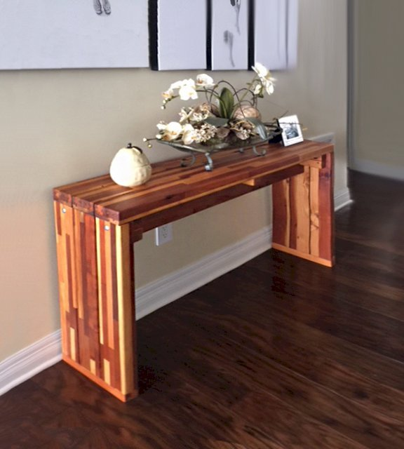 Maynard Hallway Table (Options: 4' L, 12-inch Wide Tabletop, Mosaic Eco-Wood, Standard Tabletop Option, Transparent Premium Sealant). Photo Courtesy of John B. Sohocki of Corpus Christi, Texas.