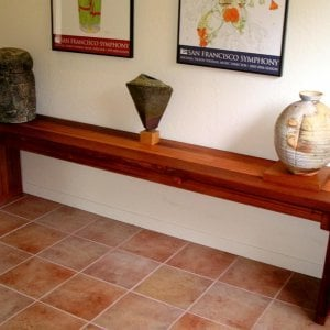 Maynard Hallway Table (Options: 7' L, 17 1/4-inch Wide Tabletop, Mature Redwood, Seamless Tabletop Option, Squared Corners, Transparent Premium Sealant). Photo Courtesy of Mr. Bill Burke of San Francisco, CA.