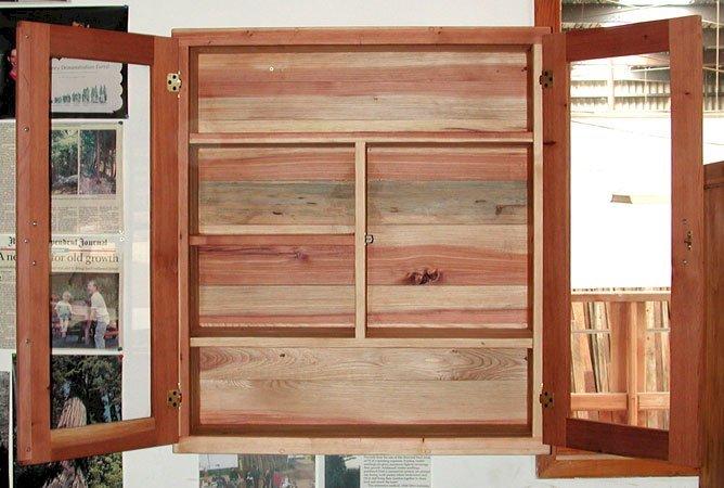 "Medicine Cabinet (Options: 32"" x 12"" x 36"", California Redwood, Unfinished)."
