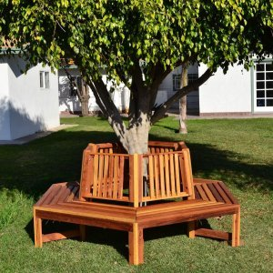 Memorial Tree Bench (Options: 8 1/2 ft, California Redwood, No Beverage Ledge, No Cushions, Custom Engraving, Transparent Premium Sealant).