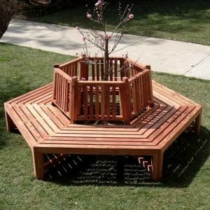 Memorial Tree Bench (Options: 8 1/2 ft, California Redwood, No Beverage Ledge, No Cushion, No Engraving, Transparent Premium Sealant). Photo Courtesy of Los Angeles School For Enriched Studies, Los Angeles, CA.