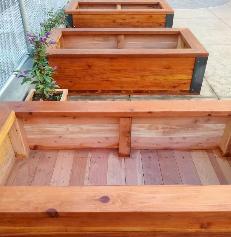 "Custom Mendocino Planters (Options: 6' L x 3' W x 20"" H, Redwood, with 5 x 5 Custom Corten Steel Angles, Interior of Box Without Sealant, Transparent Premium Sealant). Photo Courtesy of J. Verzano of San Francisco, CA."