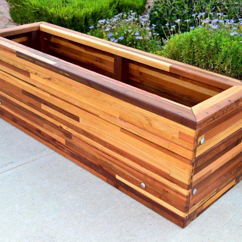 "Mendocino Planter (Options: 36"" L, 18"" W x 18"" H, Mosaic Eco-Wood, No Stand or Feet, No Casters, No Trellis, No Growing Vegetables, Transparent Premium Sealant)."