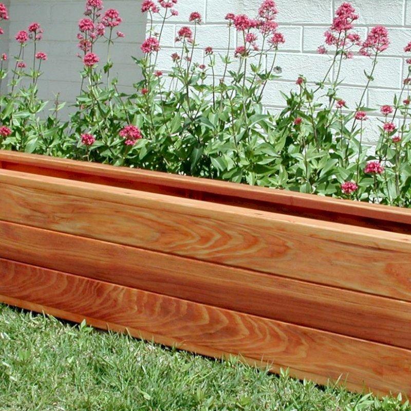 "Mendocino Planter (Options: 96"" L, 18"" W x 18"" H, Mature Redwood, 1 3/4-inch Feet, No Trellis, No Growing Vegetables, Transparent Premium Sealant)."