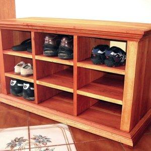 """Mia's Shoe Cubby (Options: 36"""" L, Redwood, All Shoes Option, Transparent Premium Sealant)."""