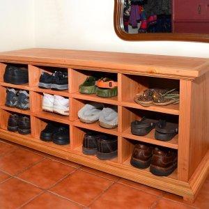 """Mia's Shoe Cubby (Options: 48"""" L, Douglas-fir, Shoes Only, Transparent Premium Sealant)."""