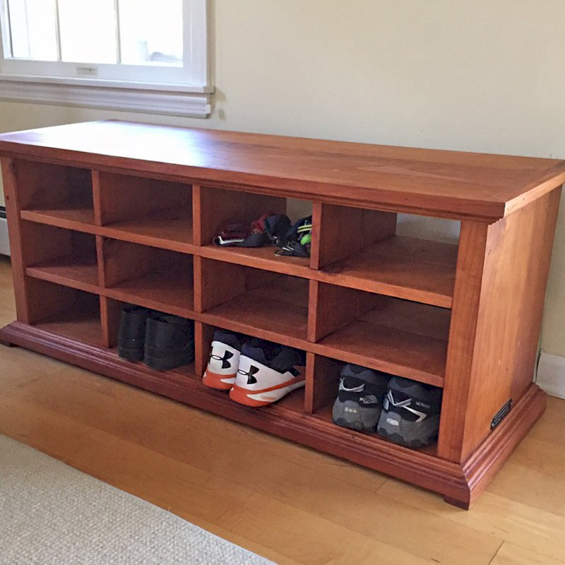 "Mia's Shoe Cubby (Options: 48"" L, Mature Redwood, Shoes Only, Slightly Rounded Corners, Transparent Premium Sealant). Photo courtesy of J. May of Penn Valley, PA."