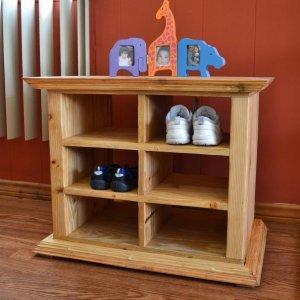 """Mia's Shoe Cubby (Options: 24"""" L, Douglas-fir, All Shoes Option, Transparent Premium Sealant)."""