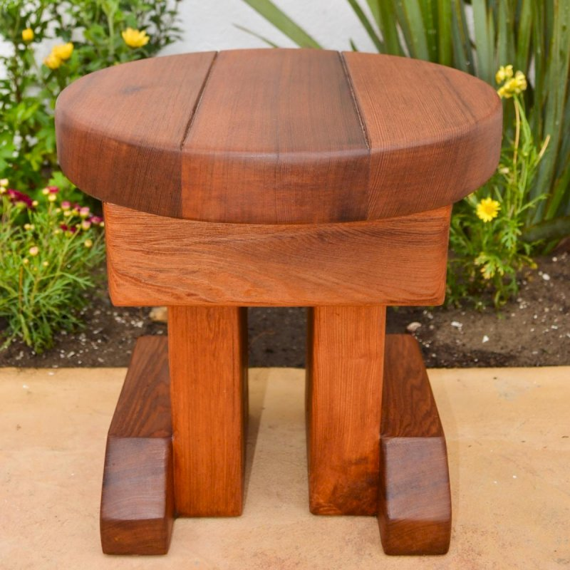 Mini Round Side Table (Options: Old-Growth Redwood, 14 inches tall, Transparent Premium Sealant).