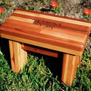 "Mini Foot Stool (Options: Mosaic Eco-Wood, 7"" H, Custom Engraving, Transparent Premium Sealant)."