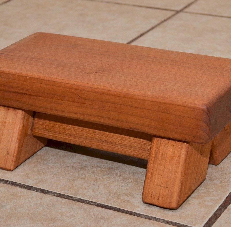 "Mini Foot Stool (Options: Mature Redwood, 4 1/2"" H, No Engraving, Transparent Premium Sealant)."