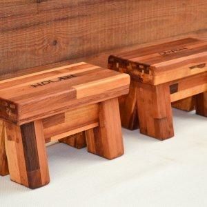 "Mini Foot Stools (Options: Mosaic Eco-Wood, 7"" H, Custom Engraving, Transparent Premium Sealant)."