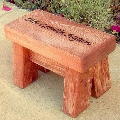 """Mini Foot Stool (Options: Old-Growth Redwood, 8 1/2"""" H, Engraving, Unfinished)"""