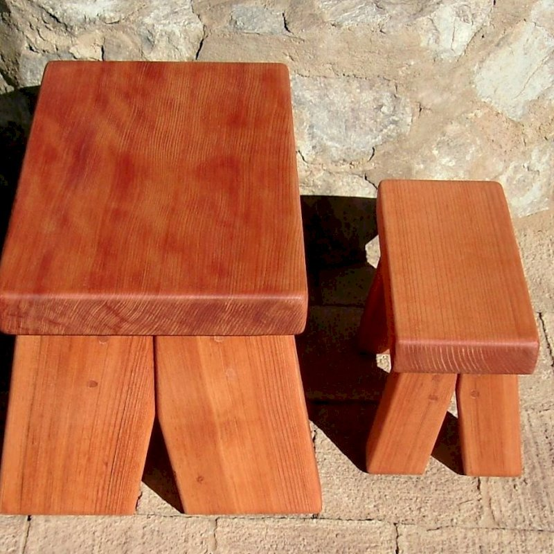 """COMPARING STOOL DESIGNS: Heritage and Mini Foot Stools (Options: Old-Growth Redwood - left, Mature Redwood - right, 13"""" H - left, 8 1/2"""" H - right, No Engraving, Transparent Premium Sealant)"""