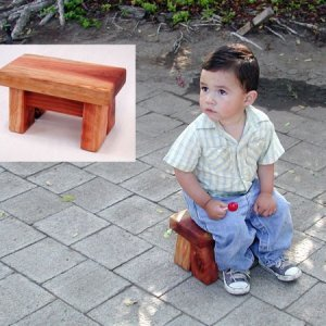 "Mini Foot Stool (Options: Redwood, 7"" H, No Engraving, Transparent Premium Sealant). 2 year old Samuel Antonio Alvarez modeled with the permission of his lovely mother, Iris."