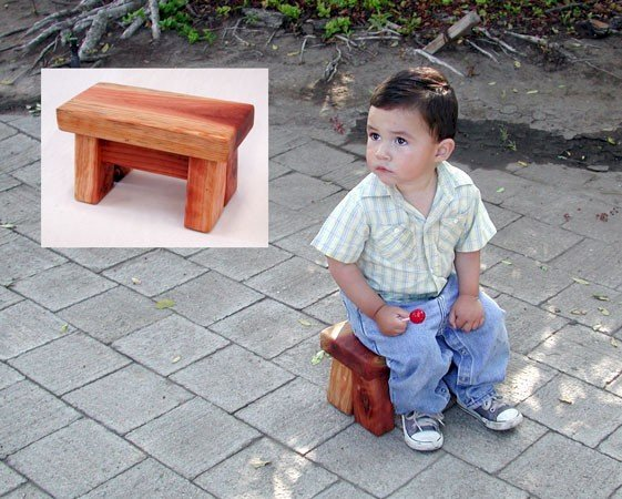 "Mini Foot Stool (Options: Redwood, 7"" H, No Engraving, Transparent Premium Sealant). 2 year old Samuel Antonio Alvarez modeled with the permission of his lovely mother, Iris."