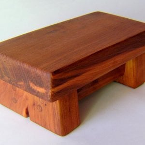 "Mini Foot Stool (Options: Old-Growth Redwood, 4 1/2"" H, No Engraving, Transparent Premium Sealant)."