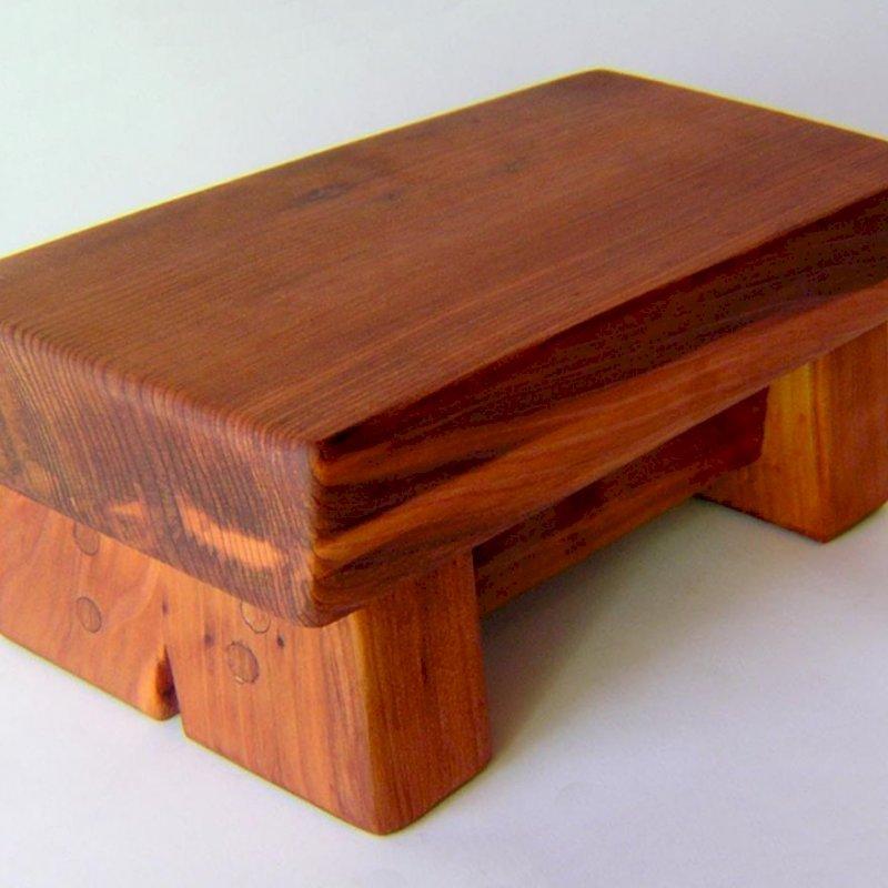 "Mini Foot Stool (Options: Old-Growth Redwood, 4 1/2"" H, No Engraving, Transparent Premium Sealant)."