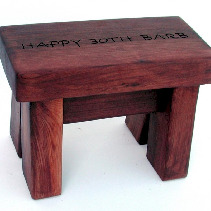 """Mini Foot Stool (Options: Mature Redwood, 8 1/2"""" H, Engraving, Cherry Stain)"""