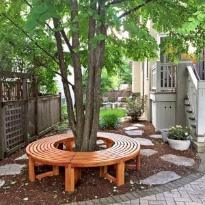 The Miramar Custom Tree Bench (Options: 7 ft [full circle by custom request], Douglas-fir, Transparent Premium Sealant). Photo Courtesy of Margaret Jeschke of Oak Park, Illinois. If you would like to order a full circle version, please just order 2!