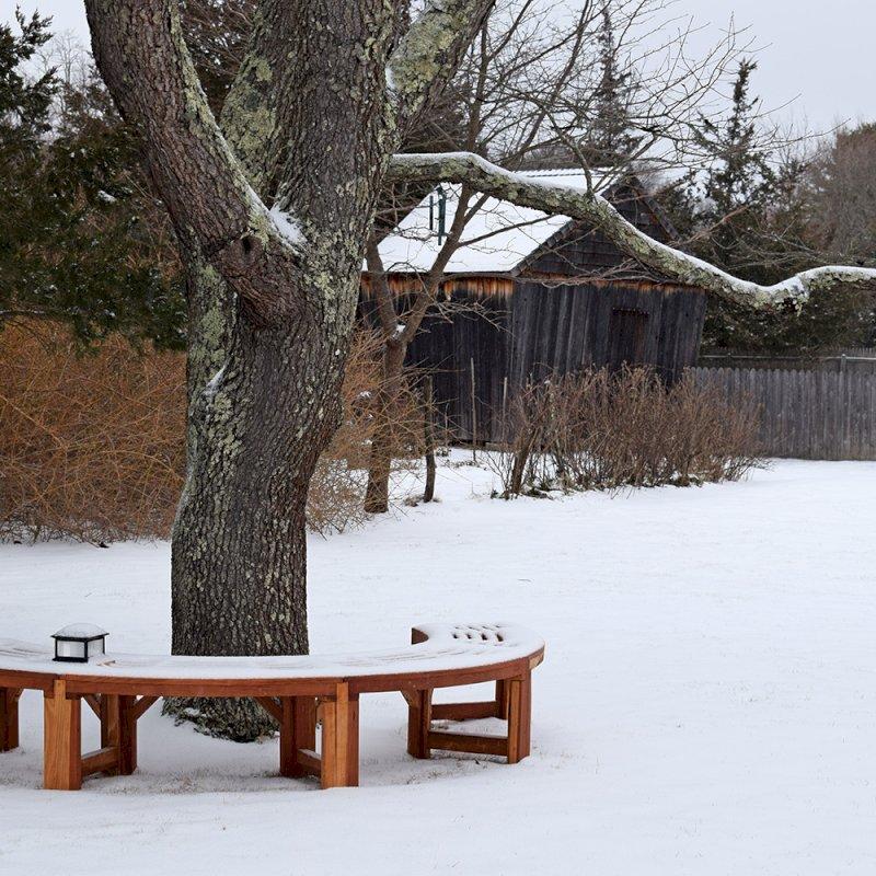 The Miramar Tree Bench (Options: 8 3/4 ft, Redwood, Transparent Premium Sealant).