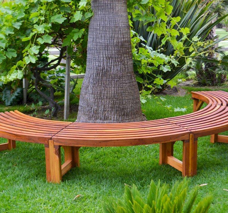 The Miramar Tree Bench (Options: 10 1/2 ft, California Redwood, Transparent Premium Sealant).