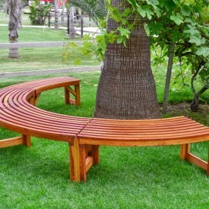 The Miramar Tree Bench (Options: 10 1/2 ft, Redwood, Transparent Premium Sealant).