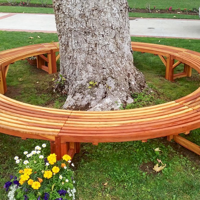 The Miramar Custom Tree Bench (Options: 12 ft [full circle by custom request], Redwood, Transparent Premium Sealant). Photo Courtesy of R. Ann of Santa Ana, CA. If you would like to order a full circle version, please just order 2!