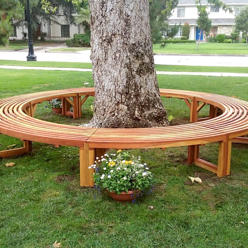 The Miramar Custom Tree Bench (Options: 12 ft [Full Circle by Custom Request], California Redwood, Transparent Premium Sealant). Photo Courtesy of R. Ann of Santa Ana, CA. If you would like to order a full circle version, please just order 2!