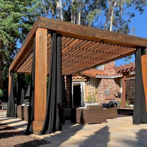 Custom Modern Fat Timber Pergola (Options: 20' x 14', California Redwood, 4 Curtain Rods, 4 Post Anchor Kit for Concrete, Transparent Premium Sealant). Photo Courtesy of B. Walsh of Atherton, California.