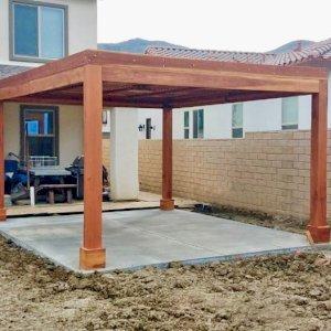 Modern Fat Timber Pergola (Options: 12' x 14', California Redwood, 4 Curtain Rods, No Wiring Trim Kit, 1 Fan Base, 4-Post Anchor Kit for Concrete, Transparent Premium Sealant).