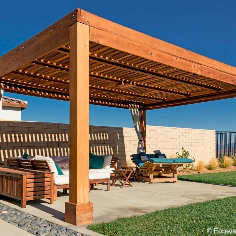 "Modern Louvered Garden Pergola (Options: 20' L x 14' W, 8"" x 8"" Posts, Mobile Louvers, California Redwood, 9 ft H, 1 Electrical Wiring Trim, 4 Curtain Rods, 4 Post Anchor Kit for Gale-Wind, No Post Decorative Trims, 1 Ceiling Fan Base, Transparent Premium Sealant). Photo Courtesy of M. Pohlman of Santa Clarita, California."
