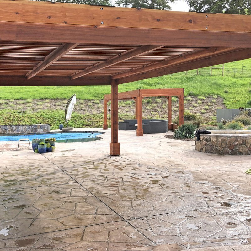 """Modern Louvered Garden Pergola (Options: 20' L x 15' W, 8"""" x 8"""" Posts, Mobile Louvers, Mature Redwood, 9.5 ft H, 1 Electrical Wiring Trim, 4-Post Anchor Kit for Hurricane, No post decorative trims, 1 Ceiling Fan Base, Transparent Premium Sealant) & Custom Pergola. Photo Courtesy of D. Ruprecht of Hollister, CA."""