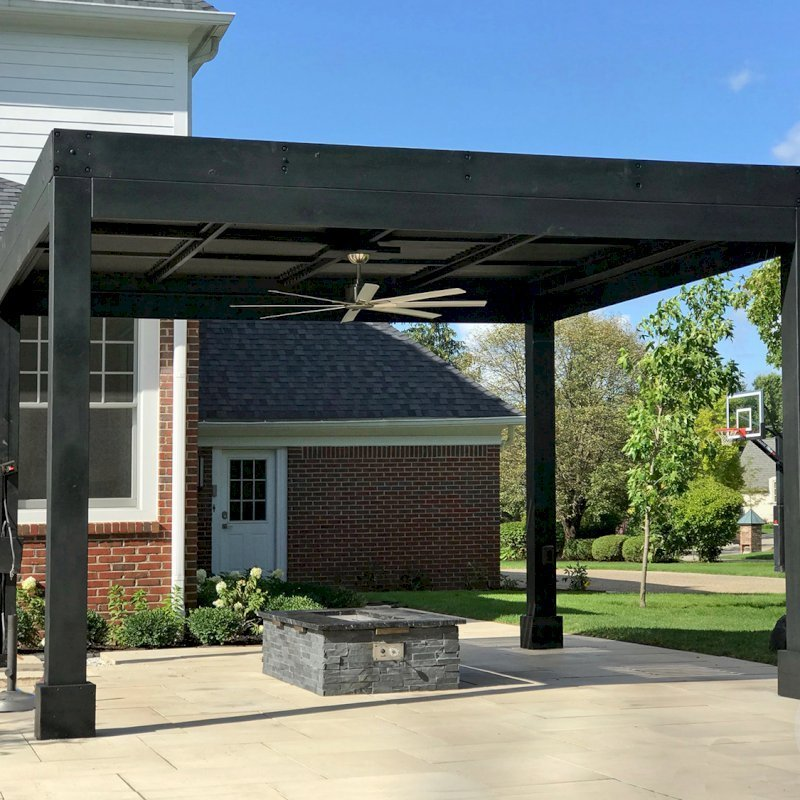 """Modern Louvered Garden Pergola (Options: 14' L x 14' W, 8"""" x 8"""" Posts, Mobile Louvers, California Redwood, 10 ft H, 2 Electrical Wiring Trims, No Curtain Rods, 4 Post Anchor Kit for Concrete, No Post Decorative Trims, 1 Ceiling Fan Base, Custom Black Stain). Photo Courtesy of B. Amiano of Carmel, Indiana."""