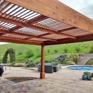 """Modern Louvered Garden Pergola (Options: 20' L x 15' W, 8"""" x 8"""" Posts, Mobile Louvers, Mature Redwood, 9.5 ft H, 1 Electrical Wiring Trim, 4-Post Anchor Kit for Hurricane, No post decorative trims, 1 Ceiling Fan Base, Transparent Premium Sealant). Photo Courtesy of D. Ruprecht of Hollister, CA."""