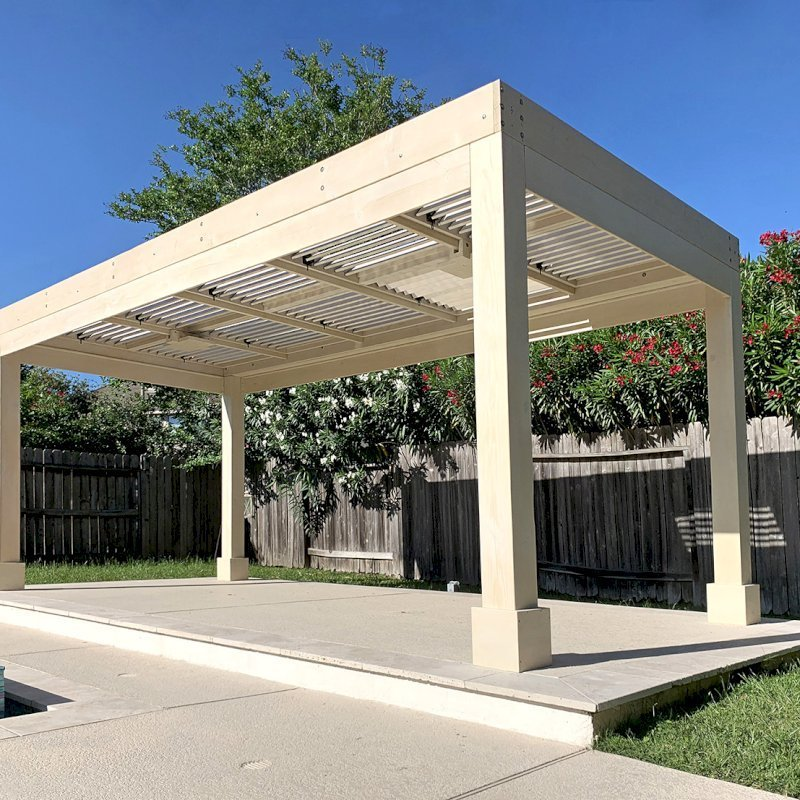 """Custom Modern Louvered Garden Pergola (Options: 20' L x 10' W, 8"""" x 8"""" Posts, Mobile Louvers, Douglas-fir, 8.5 ft H, 1 Electrical Wiring Trim, No Curtain Rods, 4 Post Anchor Kit for Concrete, 2 Ceiling Fan Bases, White Wash Finish). Photo Courtesy of G. Rodriguez of Cypress, TX."""