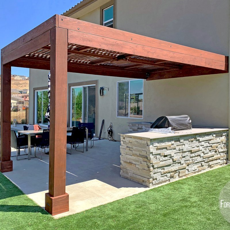 """Modern Louvered Garden Pergola (Options: 16' L x 10' W, 8"""" x 8"""" Posts, Mobile Louvers, California Redwood, 9.5 ft H, 1 Electrical Wiring Trim, No Curtain Rods, 2 Post Anchor Kit for Concrete, Attached to Wall by Custom Request, No Post Decorative Trims, 1 Ceiling Fan Base, Coffee Stain Premium Sealant). Photo Courtesy of J. Murphy of Eldorado Hills, California."""