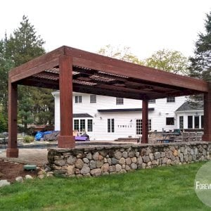 """Modern Louvered Garden Pergola (Options: 24' L x 12' W, 10"""" x 10"""" Posts, Mobile Louvers, California Redwood, 10 ft H [2 Posts Shorter Seating Atop the Pony Wall], No Electrical Wiring Trim, 4 Curtain Rods, 4 Post Anchor Kit for Concrete, No Post Decorative Trims, 2 Ceiling Fan Bases, Coffee-Stain Premium Sealant). Photo Courtesy of J. VanderKamp of Westport, Connecticut."""