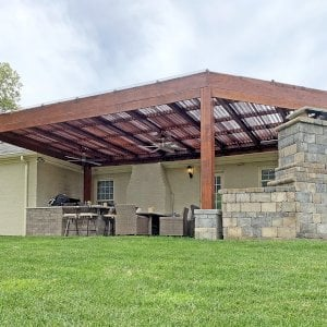 """Custom Modern Louvered Garden Pergola (Options: 32' L x 18' W, 10"""" x 10"""" Posts, Mobile Louvers, Douglas-fir, 10 ft H, No Electrical Wiring Trim, No Curtain Rods, 6 Post Anchor Kit for Concrete, No Ceiling Fan Base, No Trim Kits for The Posts, Transparent Premium Sealant, with Rain Guard System for Waterproofing). Photo Courtesy of J. Cole of Louisville, Kentucky."""