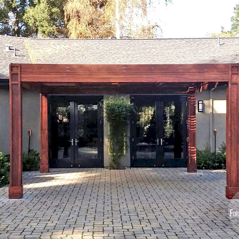 """Modern Louvered Garden Pergola (Options: 16' L x 16' W, 8"""" x 8"""" Posts, Mobile Louvers, California Redwood, 9.5 ft H, 1 Electrical Wiring Trim, No Curtain Rods, 4 Post Anchor Kit for Concrete, 1 Ceiling Fan Base, Custom Vertical Trim Kits for The Posts, Coffee-Stain Premium Sealant). Photo Courtesy of L. Arms of Atherton, California."""